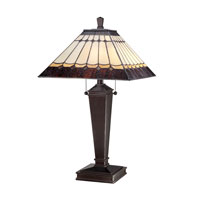 Quoizel Lighting Tiffany 2 Light Table Lamp in Authentic Bronze TF1574T