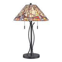 Quoizel Lighting Tiffany 2 Light Table Lamp in Vintage Black TF1693TVK