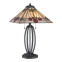 Quoizel Lighting Tiffany 2 Light Table Lamp in Vintage Black TF1694TVK