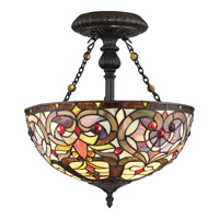 Quoizel TF1714VB Tiffany 2 Light 14 inch Vintage Bronze Semi-Flush Mount Ceiling Light in A19 Medium Base, Naturals