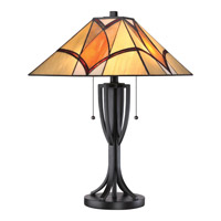 Quoizel Tiffany Sunrise 2 Light Table Lamp in Valiant Bronze TF1793TVA