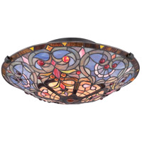 Tiffany 2 Light 17 inch Vintage Bronze Flush Mount Ceiling Light, Naturals