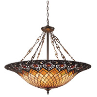 Tiffany 6 Light 32 inch Vintage Bronze Pendant Ceiling Light, Naturals