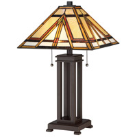 Tiffany 23 inch 75 watt Russet Table Lamp Portable Light
