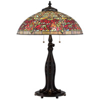 Quoizel Tiffany 3 Light Table Lamp in Valiant Bronze TF2600TVA