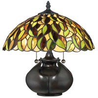 Quoizel TF3181T Tiffany 15 inch 60 watt Valiant Bronze Table Lamp Portable Light, Naturals