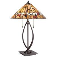 Quoizel TF3182TWT Tiffany 25 inch 75 watt Western Bronze Table Lamp Portable Light, Naturals
