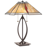 Quoizel TF3337TWT Tiffany 24 inch 75 watt Western Bronze Table Lamp Portable Light, Naturals