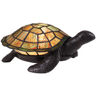 Quoizel TF3694VB Sawback 4 inch 15 watt Vintage Bronze Table Lamp Portable Light, Small Tiffany Sea Turtle
