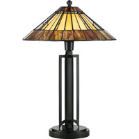 Quoizel Lighting Tiffany 1 Light Table Lamp in Vintage Bronze TF702TVB