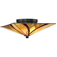 Asheville 2 Light 15 inch Valiant Bronze Flush Mount Ceiling Light, Naturals