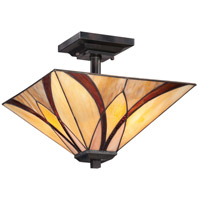 Asheville 2 Light 14 inch Valiant Bronze Semi-Flush Mount Ceiling Light, Naturals