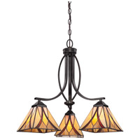 Asheville 3 Light 23 inch Valiant Bronze Dinette Chandelier Ceiling Light, Naturals