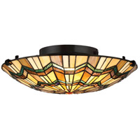 Quoizel TFAT1617VA Alcott 2 Light 17 inch Valiant Bronze Flush Mount Ceiling Light, Naturals