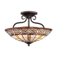 Quoizel Lighting Cross Weave 4 Light Semi-Flush Mount in Imperial Bronze TFCW1719IB