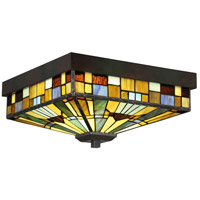 Quoizel TFIK1614VA Inglenook 3 Light 14 inch Valiant Bronze Flush Mount Ceiling Light, Naturals