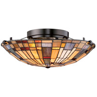 Quoizel TFIK1617VA Inglenook 2 Light 17 inch Valiant Bronze Flush Mount Ceiling Light, Naturals