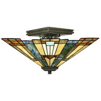 Inglenook 2 Light 14 inch Valiant Bronze Semi-Flush Mount Ceiling Light, Naturals