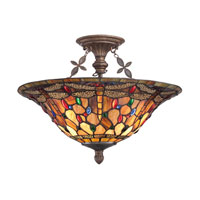 Quoizel Lighting Jewel Dragonfly 3 Light Semi-Flush Mount in Malaga TFJD1718ML