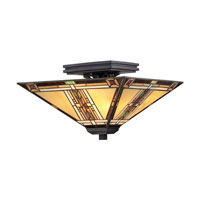Quoizel Lighting Navajo 2 Light Semi-Flush Mount in Valiant Bronze TFNO1714VA