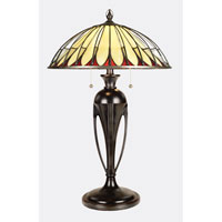 Quoizel Lighting Tiffany 2 Light Table Lamp in Burnt Cinnamon TFT13993EBC
