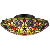 Violets 2 Light 16 inch Vintage Bronze Flush Mount Ceiling Light, Floating
