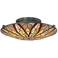 Quoizel TFVY1400VA Victory 2 Light 16 inch Valiant Bronze Flush Mount Ceiling Light, Naturals