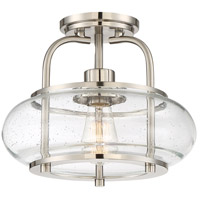 Trilogy 1 Light 12 inch Brushed Nickel Semi-Flush Mount Ceiling Light