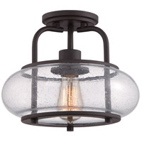 Trilogy 1 Light 12 inch Old Bronze Semi-Flush Mount Ceiling Light
