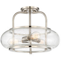 Trilogy 3 Light 16 inch Brushed Nickel Semi-Flush Mount Ceiling Light