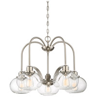 Quoizel Trilogy 5 Light Dinette Chandelier in Brushed Nickel TRG5105BN