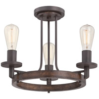 Tavern 3 Light 17 inch Darkest Bronze Semi-Flush Mount Ceiling Light