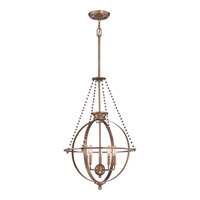 Uptown Apollo 5 Light 22 inch Weathered Brass Pendant Ceiling Light