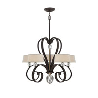 Uptown Madison Manor 5 Light 32 inch Western Bronze Chandelier Ceiling Light in Light Beige Fabric Shade