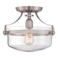 Uptown Penn Station 1 Light 13 inch Brushed Nickel Semi-Flush Mount Ceiling Light