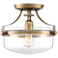 Quoizel UPPS1713WS Penn Station 1 Light 13 inch Weathered Brass Semi-Flushmount Ceiling Light, Small