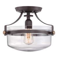 Uptown Penn Station 1 Light 13 inch Western Bronze Semi-Flush Mount Ceiling Light