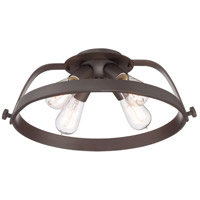 Uptown Theater Row 4 Light 18 inch Western Bronze Semi-Flush Mount Ceiling Light