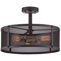 Union Station 3 Light 16 inch Western Bronze Semi-Flush Mount Ceiling Light