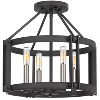 Quoizel VC1716MB Victor 4 Light 16 inch Mottled Black Semi-Flush Mount Ceiling Light