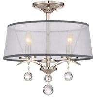 Whitney 3 Light 16 inch Imperial Silver Semi-Flush Mount Ceiling Light