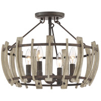 Quoizel WHL1717RK Wood Hollow 4 Light 17 inch Rustic Black Semi-Flush Mount Ceiling Light