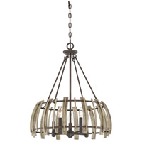 Wood Hollow 5 Light 21 inch Rustic Black Pendant Ceiling Light