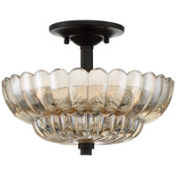 Quoizel WHP1712MC Whitecap 3 Light 12 inch Mottled Cocoa Semi-Flush Mount Ceiling Light