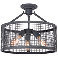 Quoizel Wilder 3 Light Semi-Flush Mount in Mottled Black WLR1716MB