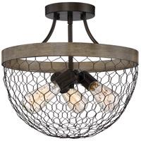 Quoizel WSE1715CG Willowstone 3 Light 15 inch Classic Grey Semi-Flush Mount Ceiling Light