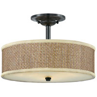 Zen 3 Light 17 inch Mystic Black Semi-Flush Mount Ceiling Light, Naturals
