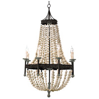 Regina Andrew 16-1008 Wood Beaded 8 Light 28 inch Natural Chandelier Ceiling Light