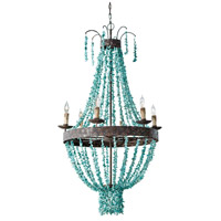 Regina Andrew 16-1012 Beaded 6 Light 27 inch Distressed Painted Chandelier Ceiling Light