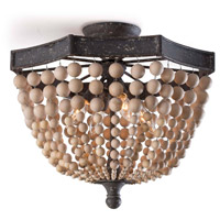 Regina Andrew 16-1162 Wood Beaded 4 Light 18 inch Natural Semi Flush Mount Ceiling Light photo thumbnail